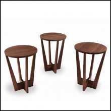 Set de 3 tables en bois de noyer massif 154-Snack Full Wood