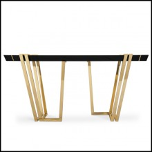 Console table with structure in polished brass and central top in Nero Marquina marble 164-Partenon