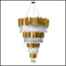 Chandelier with crystal glass and gold plated polished brass pendants 164-Ambassador