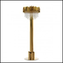 Floor lamp with crystal glass and gold plated polished brass pendants 164-Ambassador