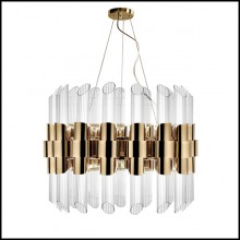 Suspension with gold plated polished brass structure and ribbed crystal glass cylinders 164-Vitta Gold Round