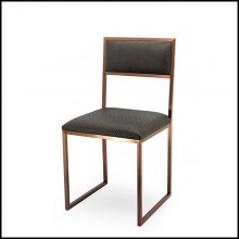 Chair covered with anthracite eco-leather with metal coppered finish structure 162-Napoli