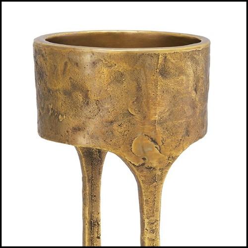 Vase en verre noir soufflé à la main entouré d'une structure en laiton 104-Enlace Black