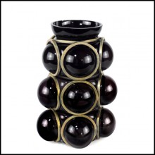 Vase with handblown black glass surrounded by a brass structure 104-Enlace Spheres