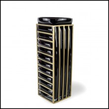 Vase with handblown black glass surrounded by a brass structure 104-Enlace Rectangular