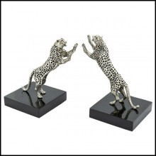 Bookend in silver plated brass on black polished glossy base 162-Leopard Set