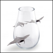 Vase with handblown clear glass and 3 Manta Ray in satinated tin 104-Ray