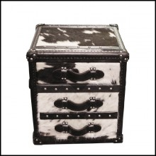 Chest with structure in solid wood and covered with natural black and white cowhide 35-Cowhide Cube