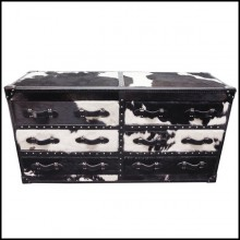 Chest with structure in solid wood and covered with natural black and white cowhide 35-Cowhide Long
