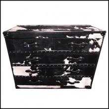 Chest with structure in solid wood and covered with natural black and white cowhide 35-Cowhide High