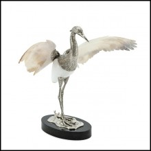 Sculpture of heron bird on black base with silver plated structure PC-Shell Wings