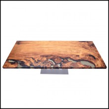 Dinning table with solid Kauri wood top with resin finish and with mix of light and dark shades PC-Kauri Wood