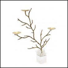 Candleholders with bronze finish branches and cubic glass base with cutted glass sticks on top 162-Bronze Branches