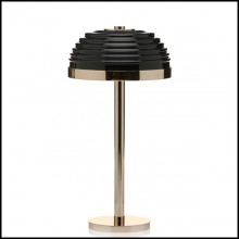Table lamp with structure and base in polished solid brass and black glass shade 165-Duke