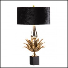 Table lamp with solid brass leaves in bronze finish and  black velvet lampshade and leaves 165-Franklin
