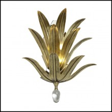 Wall lamp with solid brass leaves in bronze finish and with original glass drop at the bottom 165-Franklin