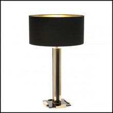 Table lamp in solid polished brass with gold brass and black brass finish 165-Rollins