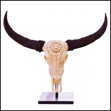 Sculpture hand-carved water buffalo skull and horns with very sharped details PC-Buffalo Skull