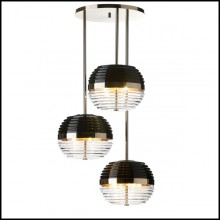 Suspension with structure and base in polished solid brass and black glass shade 165-Duke Triple