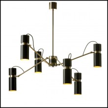 Suspension with structure in polished brass and lamp shades in gold finish inside and black lacquered outside165-Eroll