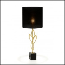 Table lamp with structure in gold plated brass on oxide black base 165-Gold Leaves