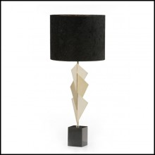 Table lamp with structure in mat gold plated brass on granite black base 165-Peter