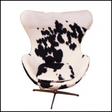 Armchair upholstered with treated natural cowhide on swivel polished stainless steel feet PC-Cowhide Egg