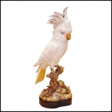 Sculpture Parrot made in solid porcelain with hand-painted finish on solid bronze and porcelain base 38-Parrot Porcelain