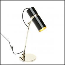 Table lamp with structure in polished brass and gold finish in the inside of the lamp shade 165-Erroll