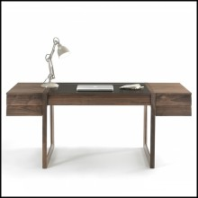 Desk with legs structure in solid walnut wood and top with three-drawers made in walnut plywood with squared lines 154-Scribe