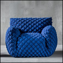 Armchair upholstered with foam in polyurethane covered by a polyester fibre quilting and a goose down 30-Smooth Blue