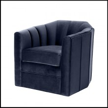 Armchair upholstered with Savona midnight blue or Savona sea green velvet 24-Lancelo