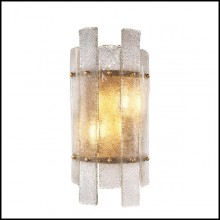 Wall Lamp with structure in antique brass finish and hand blown glass 24-Caprera