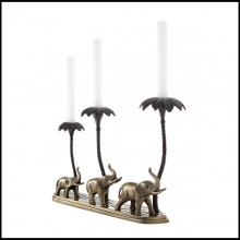 Candle Holder with structure in antique brass and bronze finish 24-Tri Elephant