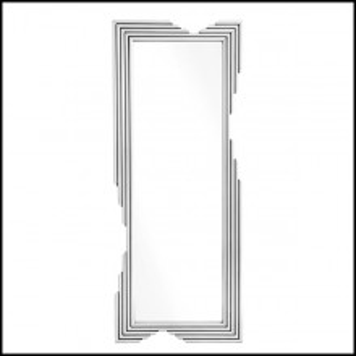 Miroir avec cadre en acier inoxydable poli et verre miroir 24-Navarra