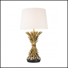 Table lamp with structure in antique gold finish and black granite base 24-Wheat Sheaf