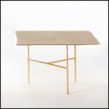 Table basse avec toute la structure en fer forgé et finitions Gold ou nickel 107-Quadruple Square