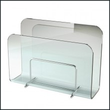 Magazine rack casted in one slab of curved clear glass in 10 mm thickness 146-Air