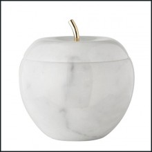 Box in glossy white carrara marble, including a lid in brass mirror inside and a stalk in brass 107-Marble Apple