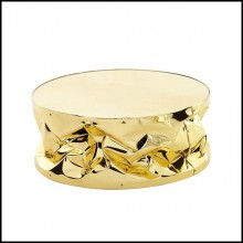 Coffee table with structure in strained polished aluminium in gold or chrome finish 107-Bumpy