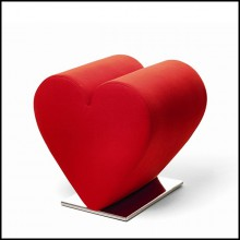 Stool heart with polyurethane foam and upholstered with red or black fabric 100% cotton 107-Heart Red