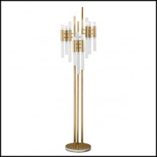 Floor lamp with crystal glass tubes and gold-plated polished brass structure 164-Fall