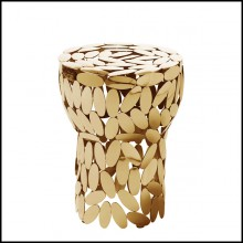 Table d'appoint en acier plaqué Gold 24 carats ou finition nickel 107-Multi Leaves