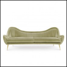 Sofa with wooden structure covered with cotton velvet in mandel green finish 155-Eldorado