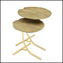Set de deux tables d'appoint avec structure en métal finitions Gold 24-Lotus Leaves