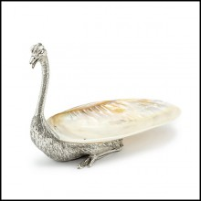 Cup in metal in silver plated finish and with natural polished big shell cup 162-Ostrich