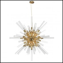 Suspension with ribbed crystal glass tubes held by a gold plated polished brass structure 164-Fall Sputnik