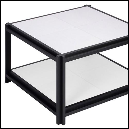 Miroir avec structure en bois recouverte de verre clair peint à la main finition bleue 162-Flowers Blue