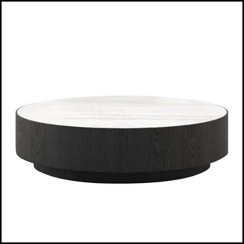 Miroir avec cadre en bois d'acajou massif sculpté à la main et finitions peintes en argent 119-Scales Round