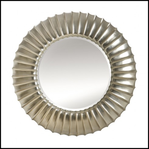 Silver Painted Finish 119 Scales Round, Carved Wood Frame Round Mirror